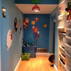 My sons under the stairs playroom!