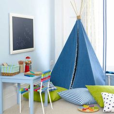 Bedroom: Boys Bedroom Ideas With Blue Indian Tend. blue tend. wall mount black board. soft blue table. colorful chair. striped floor cushions. green cushions.