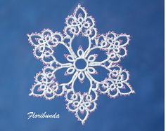 Floribunda tatting pattern PDF, tatted in white with beads makes a lovely snowflake