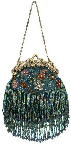 Green Vintage Flowers Seed Bead Flapper Clutch Evening Handbag, Clasp Purse w/Hidden Chain, via MG Collection.