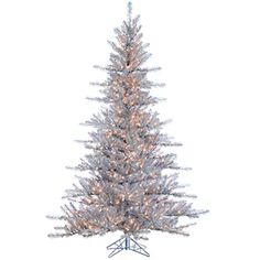 """7'6""""Hx62""""W Tinsel Pine LED-Lighted Artificial Christmas Tree w/Stand -Silver >>> Want to know more, visit http://www.amazon.com/gp/product/B00O5TTRPQ/?tag=christmasdecor1-20&pde=180816031151"""