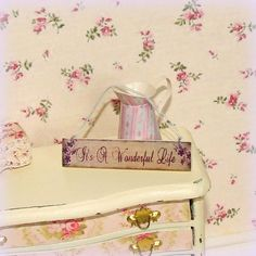 Please see shop announcement or policies for Christmas posting dates.     Dollhouse miniature Its A Wonderful Life hanging sign plaque Shabby