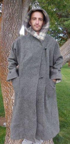 Vintage Woolrich Grey Plaid Hooded Long Wool Blanket OverCoat Jacket Large L #WOOLRICH #Outdoor
