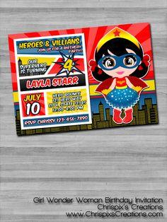 Girl Wonder Woman Birthday Invitation- Justice League DC Comics - Chrispix's Creations
