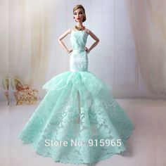 Find More Dolls Accessories Information about Free shipping baby birthday gift doll green color fish tail luxurious evening dress for Barbie doll,High Quality gift box dress,China dress up chinese princess Suppliers, Cheap gift player from Top1 Fashion store on Aliexpress.com