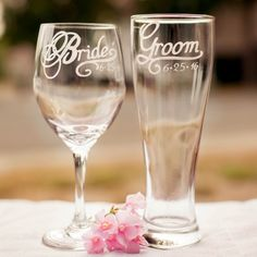 Bride Wine Glass and Groom Beer Glass with Wedding Date Hand Engraved Gift for Bride Gift for Groom Set of 2 More Glass Types Available Choose from Wine Pilsner Pint or Whisky Glasses ** Click image for more details. Bride And Groom Presents, Wedding Gifts For Bride And Groom, Diy Wedding Gifts, Bride And Groom Pictures, Bride Gifts, Diy Gifts, Bride Groom, Party Gifts, Wedding Crafts