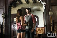 """The Vampire Diaries -- """"I Know What You Did Last Summer"""" -- Image Number: VD501b_0614.jpg — Pictured (L-R): Nina Dobrev as Elena and Steven. R. McQueen as Jeremy — Photo: Annette Brown/The CW -- © 2013 The CW Network, LLC. All rights reserved."""
