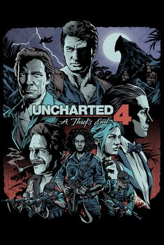 Uncharted 4 - Official print by Austin based Illustrator Alexander Laccarino   Action, Adventure Video Game Cover.