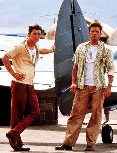 Pearl Harbor movie, (R) wearing an unbutton Hawaiian shirt