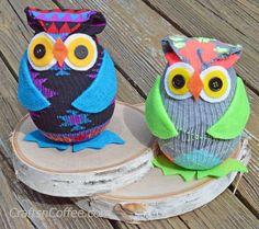 Cute! Easy DIY Sock Owls on CraftsnCoffee.com. Make one in minutes!