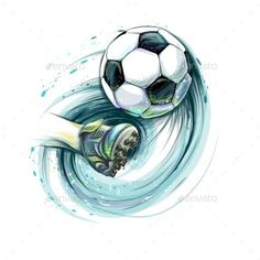 Buy Kick a Soccer Ball by kapona on GraphicRiver. Kick a soccer ball. Leg and football ball from splash of watercolors. Vector illustration of paints Soccer Pro, Soccer Players, Arsenal Soccer, Soccer Goalie, Soccer Drills, Soccer Sports, Soccer League, Nike Soccer, Soccer Cleats