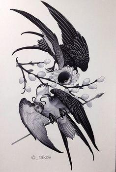 Сергей Раков Tattoo Sketches, Tattoo Drawings, Body Art Tattoos, Art Drawings, Japan Tattoo Design, Swallow Tattoo Design, Neo Tattoo, Dark Tattoo, Zwilling Tattoo