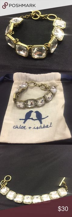 Chloe + Isabel Retro Glam Square Cut Bracelet NWT New Chloe + Isabel Retro Glam Square Cut  Bracelet. Antique brass plated, nickel free plating, toggle closure clear glass. Comes with jewelry bag from a smoke free home. Chloe + Isabel Jewelry Bracelets
