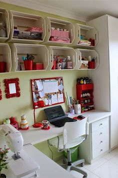 21 New Ideas For Home Office Storage Ideas Sewing Spaces Sewing Room Organization, Craft Room Storage, Wall Storage, Craft Rooms, Storage Boxes, Office Storage, Wall Shelves, Organization Ideas, Storage Ideas