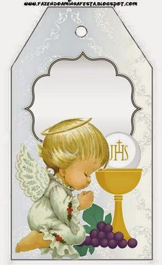 First Communion: Free Printables. First Communion Favors, Communion Invitations, First Holy Communion, Religious Images, Religious Art, Baptism Centerpieces, Origami And Quilling, Christening, Free Printables