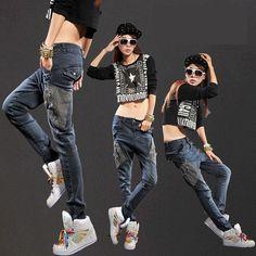 2015 primavera personalidad de moda Hip Hop mujeres Casual Jeans Denim  Jeans pantalones lápiz pantalones apliques 7b7a523fc8d