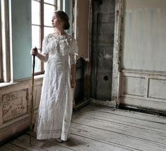 Linen and Irish Lace Edwardian Dress Size XS XXS by marybethhale