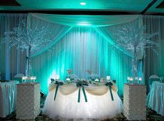 Beautiful Sweetheart Table Decor Using Tulle Table Skirt. Mint Green And White Wedding  Reception