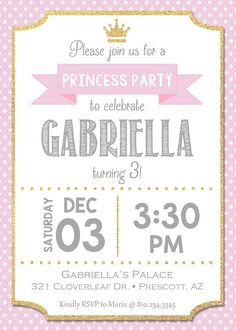 Pink princess birthday invitation - personalized for your party - digital / printable DIY girls birt Princess Birthday Invitations, Diy For Girls, For Your Party, Girl Birthday, First Birthdays, Baby Shower, Messages, Pink Princess Party, Princesa Disney