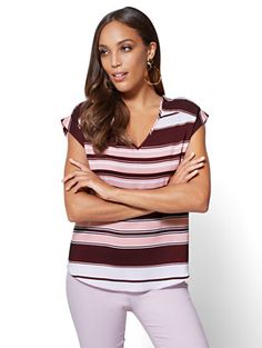 Shop 7th Avenue - V-Neck Blouse - Stripe. Find your perfect size online at the best price at New York & Company.