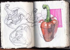 Italian Sketchbook 2012 by Anna Karmazina, via Behance: Up Book, Book Art, Art Sketches, Art Drawings, Drawing Faces, Gcse Art Sketchbook, Sketching, Observational Drawing, Guache