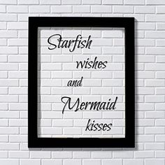 Starfish wishes and Mermaid kisses - Floating quote - Girl's Room - Kid's Room - Child's Room - Children Nursery Decor Wall Hanging Art. Floating Quote Sartfish wishes and Mermaid kisses All Floating Quotes are expertly printed on transparency film, encased between two pieces of glass and framed in an elegant 8x10 or 11x14 black frame. The black of the artwork is visible and the rest is see-through. This creates a neat shadow when hung on the wall. The purchase includes framing. Sawtooth...