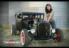 Pinup with 1929 Ford rat rod sedan Chevrolet Bel Air, Chevrolet Impala, Chevelle Ss, Chevy Camaro, Rat Rod Girls, Car Girls, Girl Car, Maserati Ghibli, Rat Rods