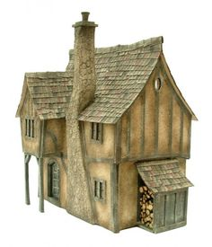 Pumpkin Cottage: dolls house kit by Petite Properties - Shown constructed… Diorama, Ho Scale Buildings, Pumpkin House, Dollhouse Design, Witch Cottage, Cardboard Castle, Miniature Houses, Kit Homes, Fairy Houses