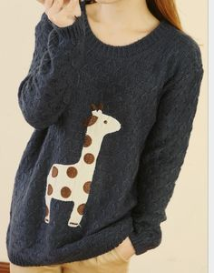 Pink Super Adorable Cartoon Giraffe Loose Pullover Sweater...OMG ...