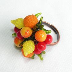 Fruit Salad Venetian Glass Charm Ring by filigreefairy on Etsy, $42.00