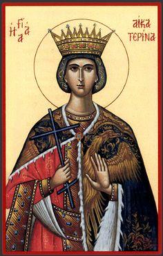 Byzantine Icon of St. Byzantine Icons, Byzantine Art, Religious Icons, Religious Art, Saint Catherine Of Alexandria, Saint Katherine, Paint Icon, Spiritual Images, Russian Icons