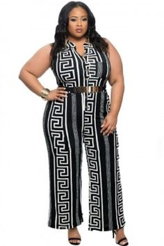 a437f4388a4 Plus Size Black Print Gold Belted Jumpsuit XL-3X  Unbranded  Jumpsuit  Spring Fashion