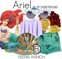 Ariel summer casual - could also work for fitness with a few tweaks (exercise shorts instead of green short, cut-off purple top over  a sports bra)