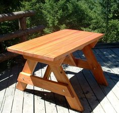 Shop online for wood tables at Forever Redwood. Hand-crafted Forever picnic tables available in custom sizes, shapes, and wood grades. Diy Furniture Building, Outdoor Furniture, Outdoor Decor, Picnic Table Bench, Bench Cushions, Douglas Fir, Pergola Kits, Round Corner, Wood Table