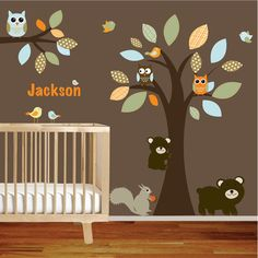 Nursery Wall Decal Tree with Branch,Bears,Squirrel,Owls and Birds Vinyl Wall Stickers. $150.00, via Etsy.