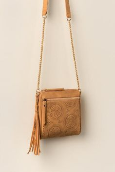 Montana Perforated Square Crossbody-Tan