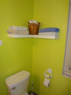 The Bathroom Towel L-Shaped Floating Shelf Idea