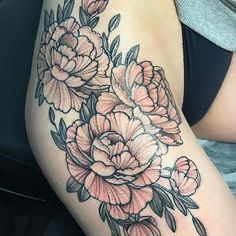 Big, Floral Thigh Tattoo Idea for Women