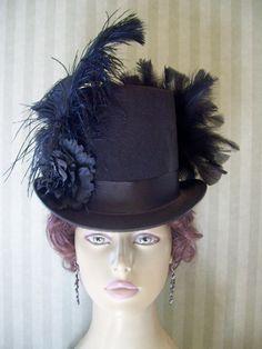 Black Steampunk Top Hat Victorian Ladies Top Hat Civil War Hat Cosplay Hat Wedding Dickens Hat