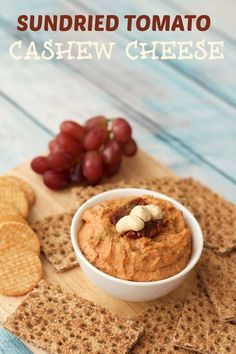 Sundried Tomato Cashew Cheese - ideal as a spread or dip! Cashew Cheese Sauce, Vegan Cashew Cheese, Vegan Cheese Recipes, Delicious Vegan Recipes, Raw Food Recipes, Veggie Recipes, Healthy Recipes, Vegan Appetizers, Vegan Snacks