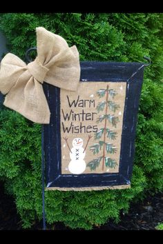 Warm Winter Wishes Snowman Burlap Garden Flag