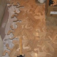 reptile pattern wood floor inspired by mc escher - Puzzle Wood Flooring