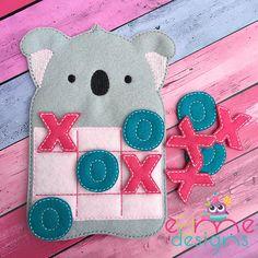 Koala Tic Tac Toe Embroidery Design - 4x4 or Larger - E&Me Designs