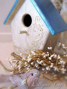 Birdhouse  decorative with gold and turquoise by lilliputloft, $39.00