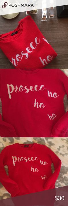 🎄🤶🏼 Prosecc- ho ho ho Sweater!!!! The PERFECT and most adorable holiday sweater for champagne lovers! NEW W/O TAGS and in perf condition. No tears, picks, etc. Boohoo Sweaters