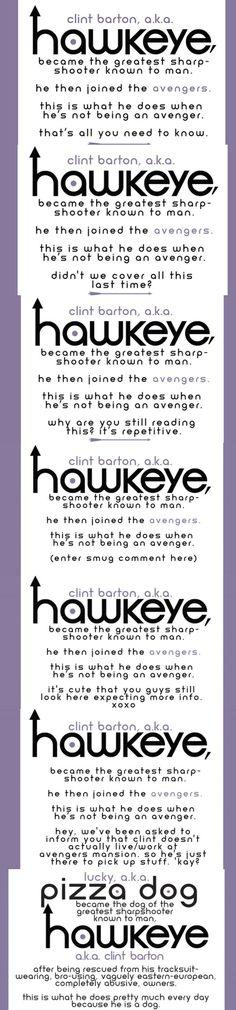 "Clint Barton aka Hawkeye [""Hawkeye"" Intro: Issues 1-3, 6, 8, 9, 11 (guest starring Lucky the Pizza Dog)]"