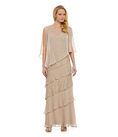 Ignite Evenings Tiered Chiffon & Lace Gown