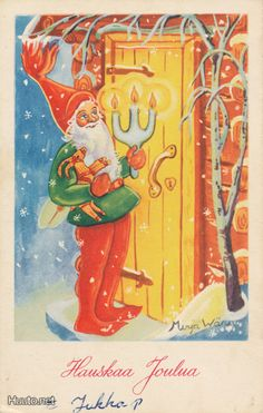 joulupukki ovella Vintage Christmas Cards, Vintage Cards, Humanoid Mythical Creatures, Scandinavian Gnomes, Elves And Fairies, Yule, Disney Characters, Painting, Art