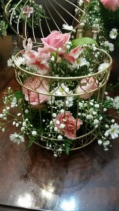 Pink roses and gold  birdcage