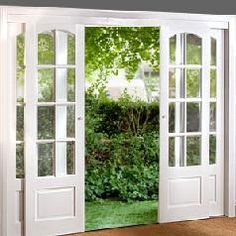 These would be great to replace a sliding glass door with! Sliding French Doors--I like this idea. combining the sliding barn door look with the class of french doors. Interior Barn Doors, Exterior Sliding Doors, Exterior French Doors, Sliding Bedroom Doors, French Doors Bedroom, Cafe Exterior, Exterior Windows, Exterior Doors With Glass, Sliding Wardrobe